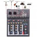 Mini mélangeur Audio 4 canaux avec Console de mixage